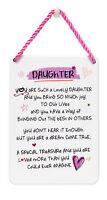 Lovely Daughter Inspired Words Tin Hanging Plaque Sentimental Gift Range