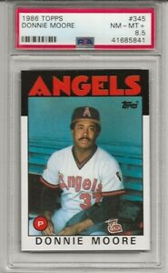 1986 TOPPS #345 DONNIE MOORE, PSA 8.5 NM-MT+, CALIFORNIA ANGELS, L@@K !
