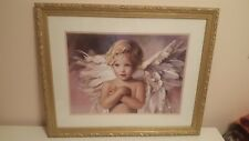 Large Nancy Noel Gold Floral Framed Matted Art Print Angel Grace