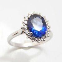 3.48 Ct Natural Diamond Oval Cut Blue Sapphire Ring 14K White Gold Size 4 5 6 7