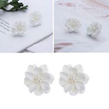 Inlay Beads Women Girl Big White Flower Elegant Simulated Pearl Stud Earrings