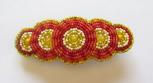 Spirit of Nature Hair Clip Seed Beads- 5 circles- red yellow white pink