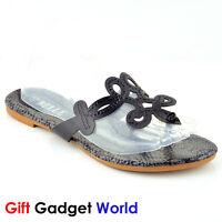Ladies Sandals Toe Post Flat Beach Summer Womens Shoes 4 5 6 7 8 Black LS-R01