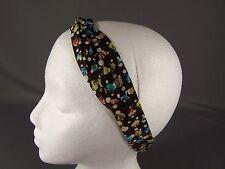 Brown floral flowers wired long tie wrap turban twist fabric headband head scarf