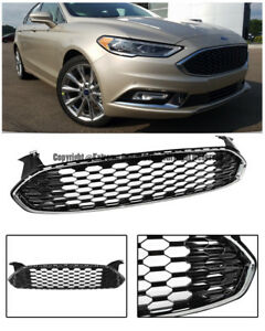 For 13-Up Ford Fusion Mustang Style Front Bumper Glossy Black Grille Chrome Trim