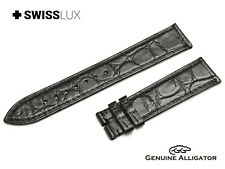 Crocodile Alligator Leather For LONGINES Watch Black Strap Band Buckle/Clasp