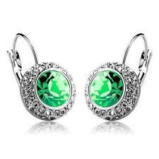 Women Multi-color Crystal Oval Ear Stud Rhinestone Hoop Earrings Clip