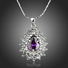 Sparkly Clear White Rhinestones Purple Zircon White Gold Plated Necklace Pendant