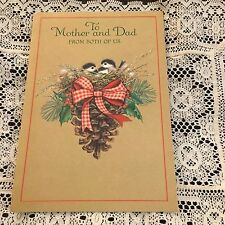 Vintage Greeting Card Christmas Mom Dad Birds Pine Cones