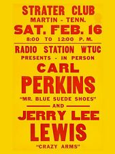 """Carl Perkins / Jerry Lee Lewis 16"""" x 12"""" Photo Repro Concert Poster"""