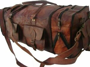 "Men's Large 30"" Travel Bag Genuine Vintage Leather Duffel Luggage Sport Weekend"