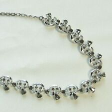 Plated Choker Adjustable Necklace Vintage Black Diamond Rhinestone Rhodium