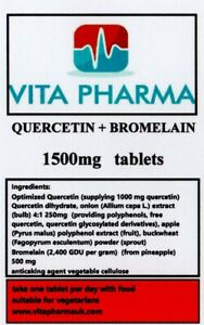 QUERCETIN + BROMELAIN 1500mg 120 tabs immune health healthy respiratory