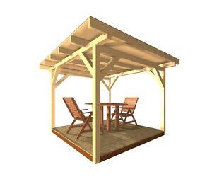 Holzpavillon Pavillon Gartenlaube Gartenhaus Holz Garten KVH Sonnenschutz Haus