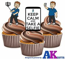 12 x Asta per Selfie Iphone Uomo Mix Cialde Edibili Torte Decorazioni Stand Up