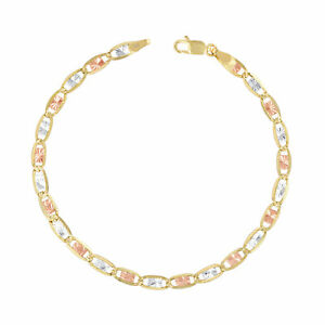 """14K Solid Tri-Color Yellow Rose White Gold 4mm Valentino Chain Bracelet 7""""- 9"""""""