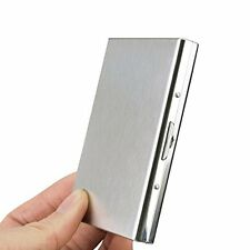 ORIGINAL RFID SECURE STAINLESS STEEL CARD HOLDER METAL FINISH MEN & WOMEN-SILVER