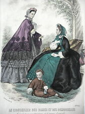 GRAVURE ANCIENNE MODE 19e - CONSEILLER DAMES ET DEMOISELLES - 1862