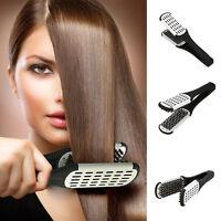 Hairdressing Straightener Ceramic Hair Straightening Double Brush Comb Clamp!