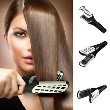 Pro Hairdressing Straightener Ceramic Hair Straightening Double Brush Comb Clamp