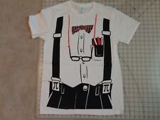NERD Outfit T-SHIRT Mens MED Tux Print Suspenders Costume Funny Humor Bowtie M