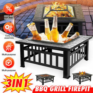 Fire Pit BBQ Stove Firepit Brazier Grill Patio Outdoor Garden W/ Firepan Cover