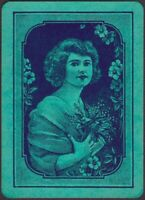 Playing Cards 1 Single Card Old Antique Wide GIRL LADY + FLOWERS Art Portrait A