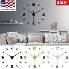 New 3D Large Number Mirror Watch Wall Clock Home Decor Modern Art Clock DIY
