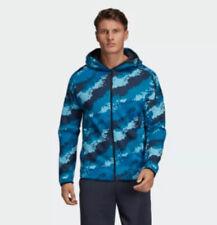 ADIDAS Mens ZNE Allover Hoodie Blue Ink Print Sweatshirt Jacket NWT XL $120