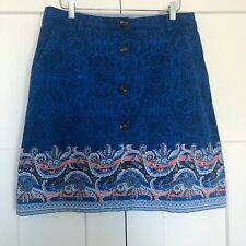 Lands End Womens Skirt Size 12 Printed Button Front