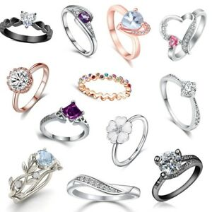 LADIES RINGS Dress Fashion Solitaire Promise Women Eternity Lady Ring Engagement