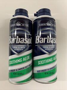 2 Cans Barbasol Shaving Cream Soothing Aloe Thick & Rich 5 oz ea   New Free Ship