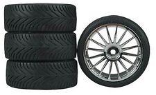 16-Spoke Chrome Wheel, Radial (4) RC Touring Car Wheels/Tire Set 1/10
