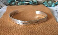"❤️STERLING SILVER❤️A JOURNEY.."" Stamped Mantra Message Inspiration Cuff Bracelet"