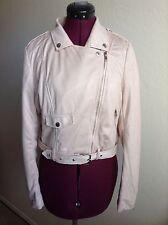 NEW MISSGUIDED Faux Suede Biker Jacket*Mink/Pale Pink*UK 8/US 4