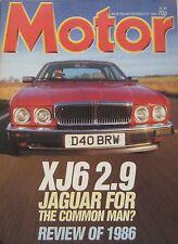 Motor magazine 27/12/1986 featuring Jaguar XJ6 2.9 road test, Leyland, Daimler