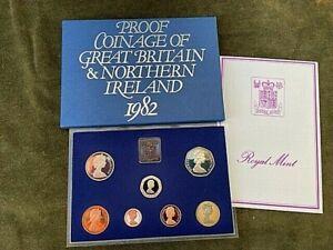 1982 Royal Mint 7 Coin PROOF Set Britannia  50p to 1/2p