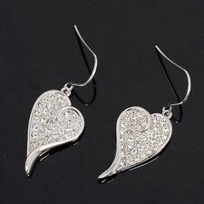 18k White gold Plated GP heart earrings E-A288