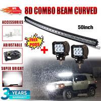 "7D TRI ROW 50INCH 648W CURVED LED LIGHT BAR SPOT FLOOD WORK CAR BOAT FORD51/"" 52/"""