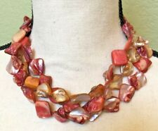 Cultured Shell Necklace Three Strands Pink Orange Beautiful Jewelry