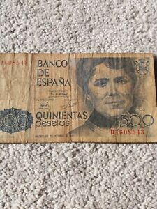 1979 Spain 500 Pesetas Note  Bank Notes  well used, Darkened all over