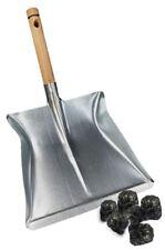 "Strong Metal Coal Shovel Wooden Handle 9"" Chrome Fireside Dust Ash Pan Tool"