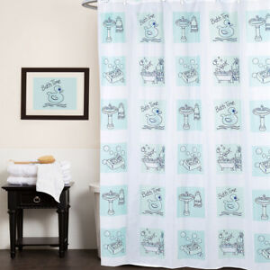 """Polyester Fabric Shower Curtain Bath Time Rubber Ducky, Soap Print 70""""x72"""""""