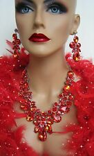 DRAG QUEEN RED RHINESTONE EARRINGS NECKLACE SET PAGEANT BRIDAL RUNWAY