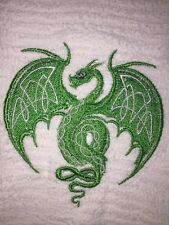 Embroidered Kitchen Bar Hand Towel- Celtic Dragon in Green BS1083