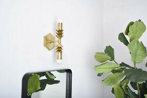 Raw Brass Wall Sconce Bathroom Vanity Modern Light Mid Century Vintage Lamp