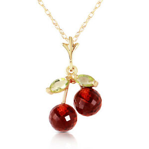 1.45 Ct 14k Solid Yellow Gold Cherry Pie Garnet Peridot Necklace