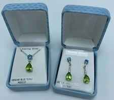 """Blue Topaz & Peridot Sterling Silver necklace 18"""" & earrings set NEW lot Tear"""