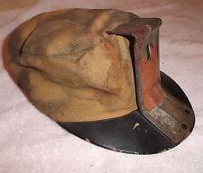 Antique Coal Miner's Hat Cap w Bracket Cloth Leather Low Vein Mining