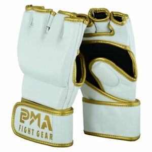Playwell MMA Leather Elite Gloves White 4oz Sparring Training Fighting Grappling